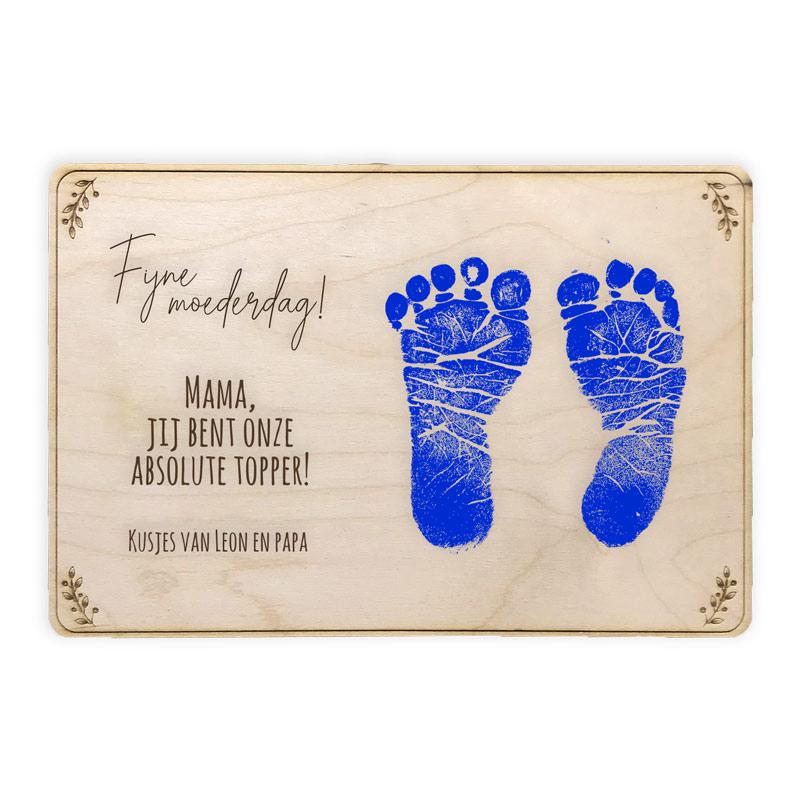 Moederdag houten bord met tekst + DIY afdruk voetjes of handjes