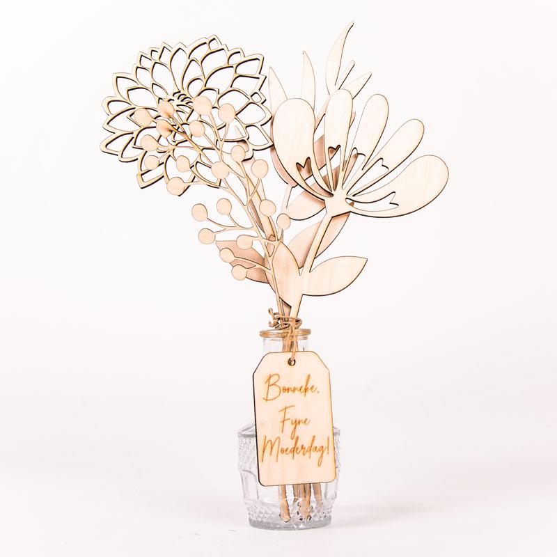 Gepersonaliseerd houten boeketje bloemen