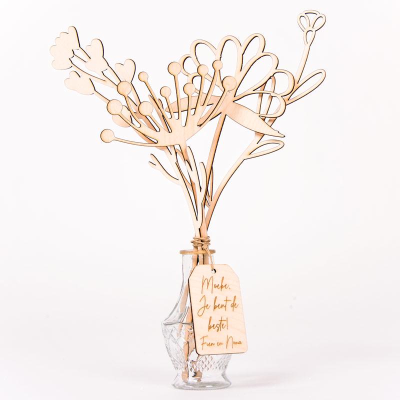 Gepersonaliseerd houten boeketje bloemen - Wildflower