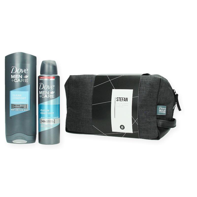 COPY  Coffret cadeau personnalisé Dove Men Clean avec gel douche, déo et trousse de toilette confort