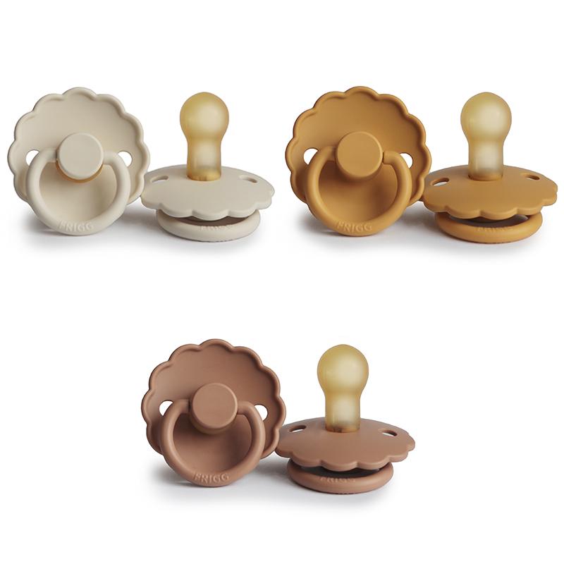 Frigg Daisy fopspeen Latex - 3 stuks - 0-6 m - Cream - Peach Bronze - Honey Gold