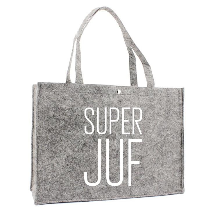 Juf Vilten Luxe Tas - SuperJuf minimalistisch