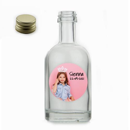 Glazen flesje ovaal met sticker rond