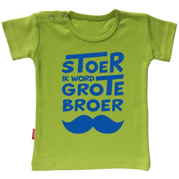 T-shirt - Stoer ik word grote broer snor (Lime 5-6j)