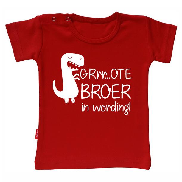 T-shirt Ik Word Grote Broer - Grote broer in wording (Rood 1-2j)