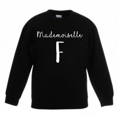 Sweater met letter - Mademoiselle (zwart)