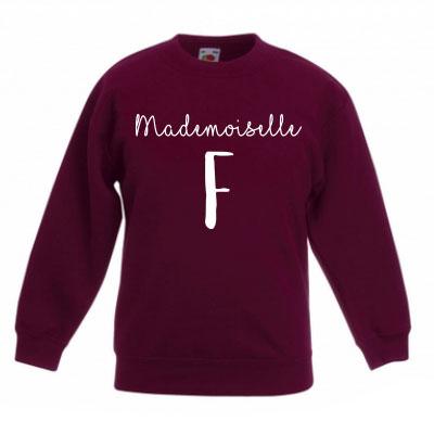 Sweater met letter - Mademoiselle (Bordeaux)