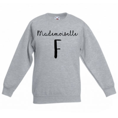 Sweater met letter - Mademoiselle (Ashgrey)