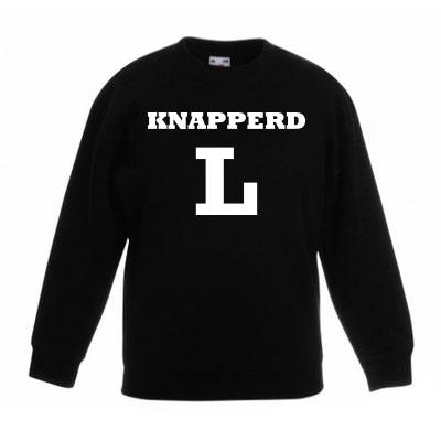 Sweater met letter - Knapperd (Zwart)