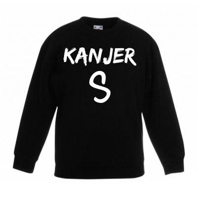 Sweater met letter - Kanjer (Zwart)