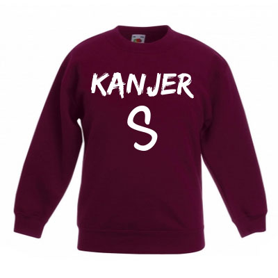 Sweater met letter - Kanjer (Bordeaux)