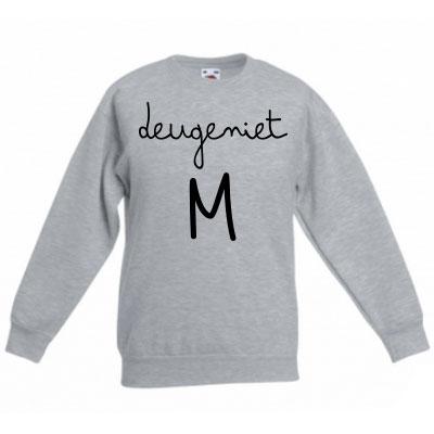 Sweater met letter - Deugeniet (Ashgrey)