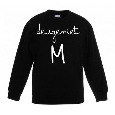 Sweater met letter - Deugeniet (Zwart)