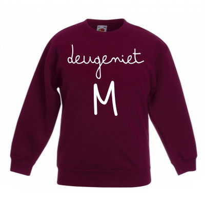 Sweater met letter - Deugeniet (Bordeaux)