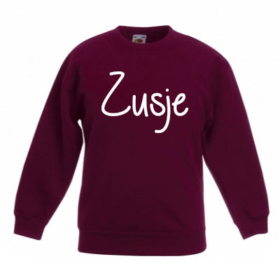 Sweater met letter - Zusje (Bordeaux)