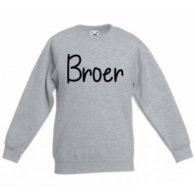 Sweater met letter - Broer (Ashgrey)