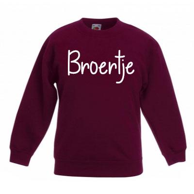 Sweater met letter - Broertje (Bordeaux)