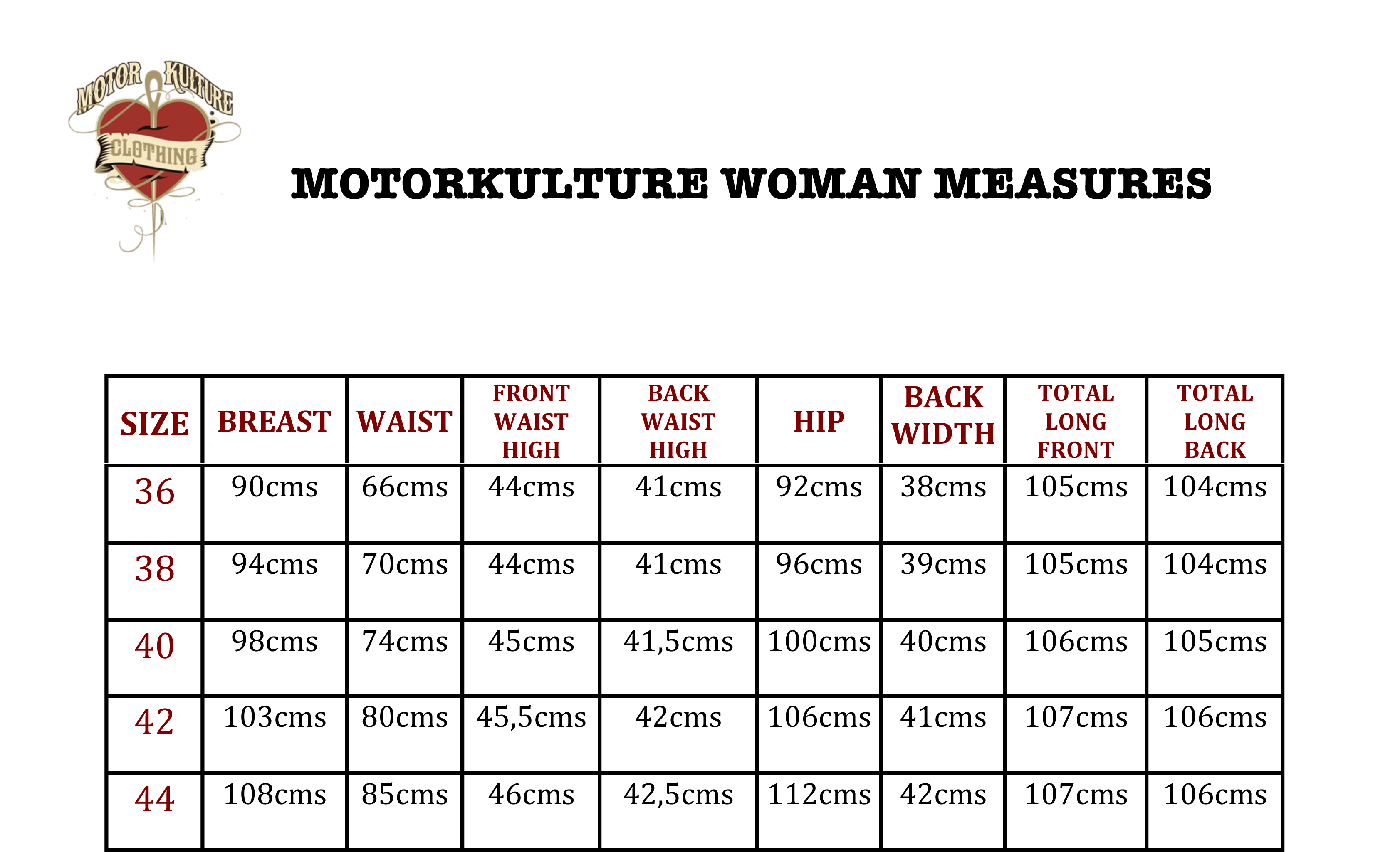 MKC Woman Measures