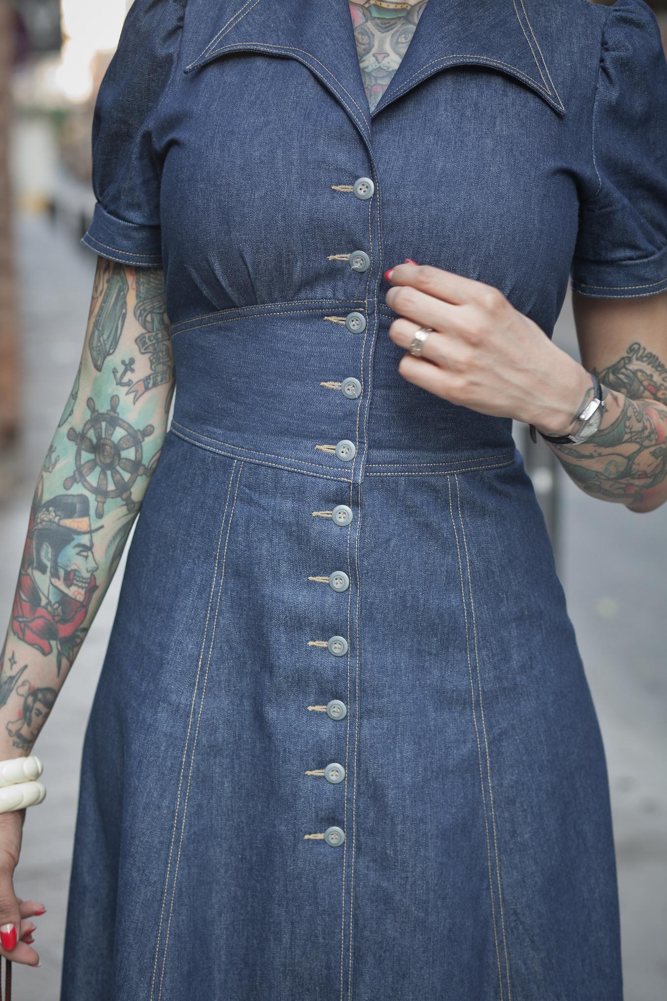 40´s Jeans Dress Front Detail