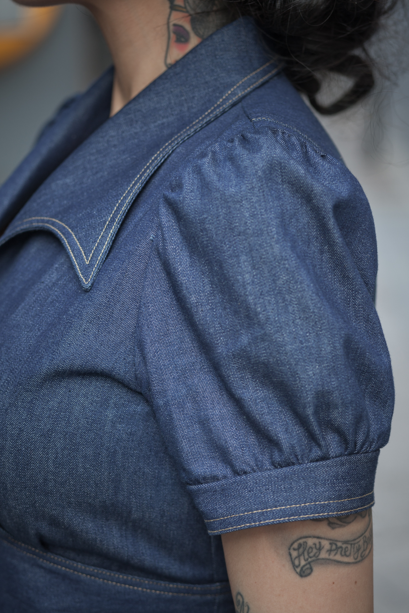 40´s Jeans Dress Sleeve Detail