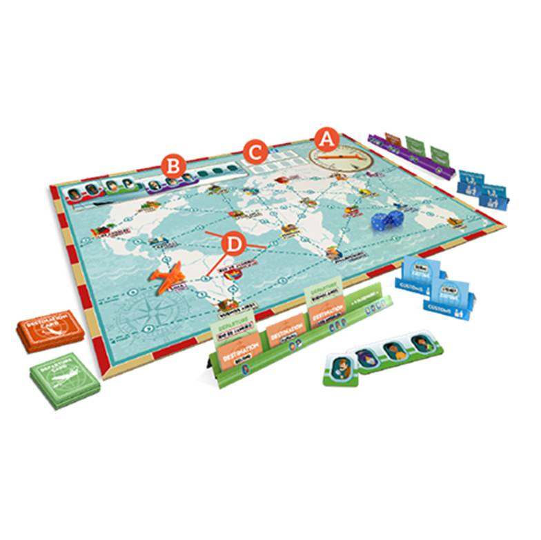 Passaportas - vintage aviation board game - game board
