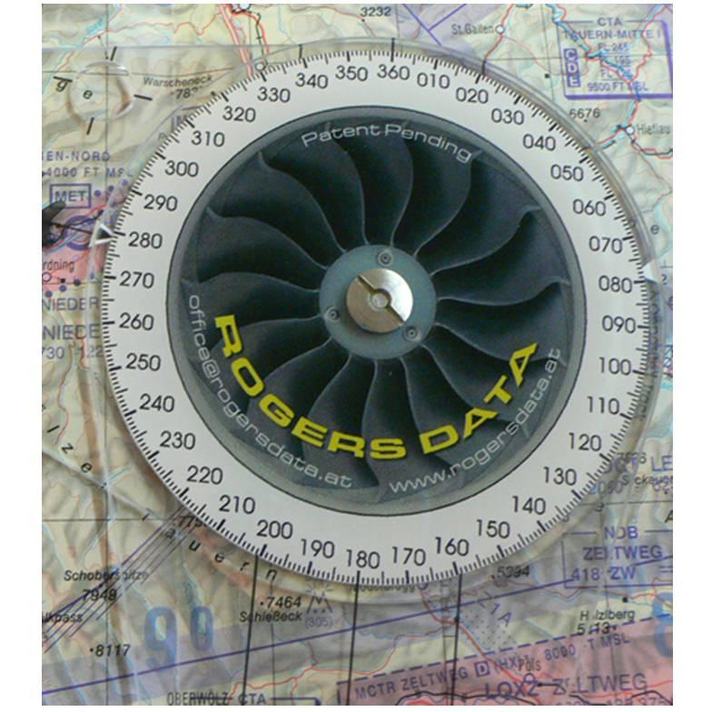 Navigationszirkel-Rogers-Data-500k-Backside-Navigationcircle-Kompassrose-Gradeinteilung-Heading-Inte