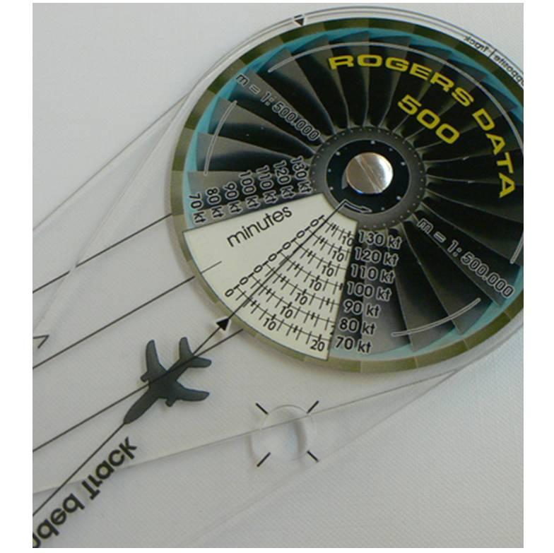 Navigationszirkel-Rogers-Data-500k-Frontside-Navigationcircle-Distance-Measurement-Flight-Time-Speed