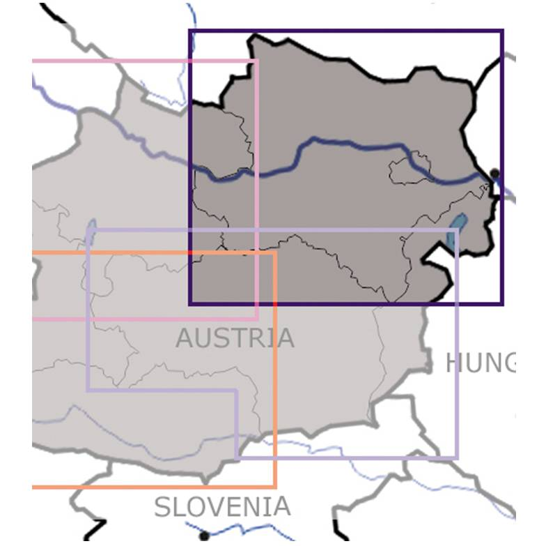 Blattschnitte-Niederösterreich-Wien-ICAO-VFR-Karte-Sichtflugkarte-Luftfahrtkarte-Rogers-Data-200k