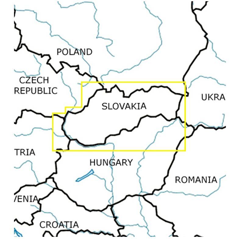 Blattschnitte-Slowakei-ICAO-VFR-Karte-Sichtflugkarte-Luftfahrtkarte-Rogers-Data-500k