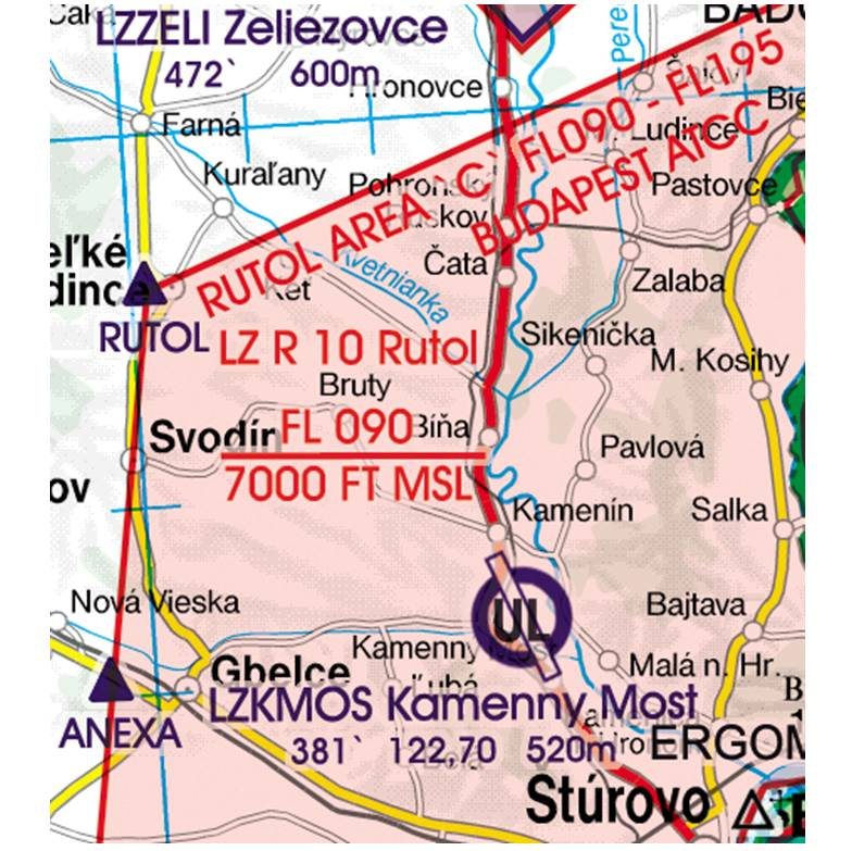 Slovakia-Rogers-Data-500k-Gefahrengebiet-Luftsperrgebiet-Flugbeschränkungsgebiet-Prohibited-Restrict