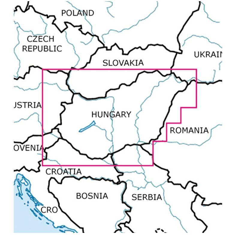 Blattschnitte-Ungarn-ICAO-VFR-Karte-Sichtflugkarte-Luftfahrtkarte-Rogers-Data-500k