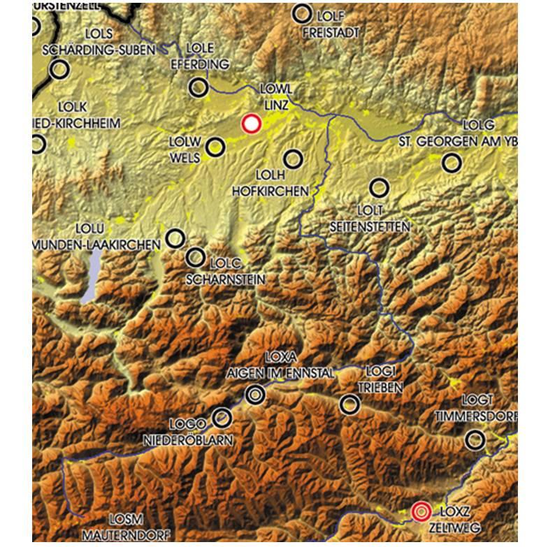 europaeische-flugplaetze-icao-code-besiedelte-gebiete-reliefkarte-2500k