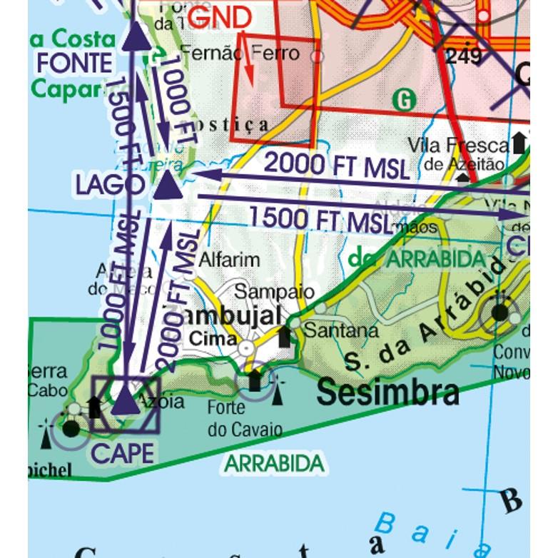 Portugal VFR Aeronautical Chart  visual flight routes