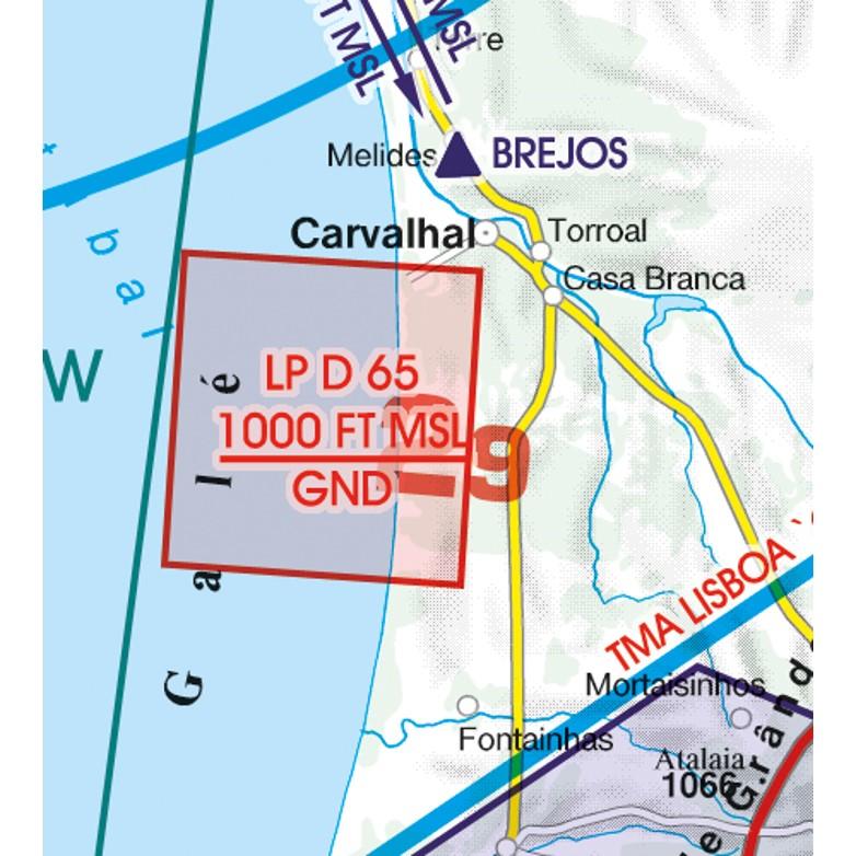Portugal VFR Aeronautical Chart danger area