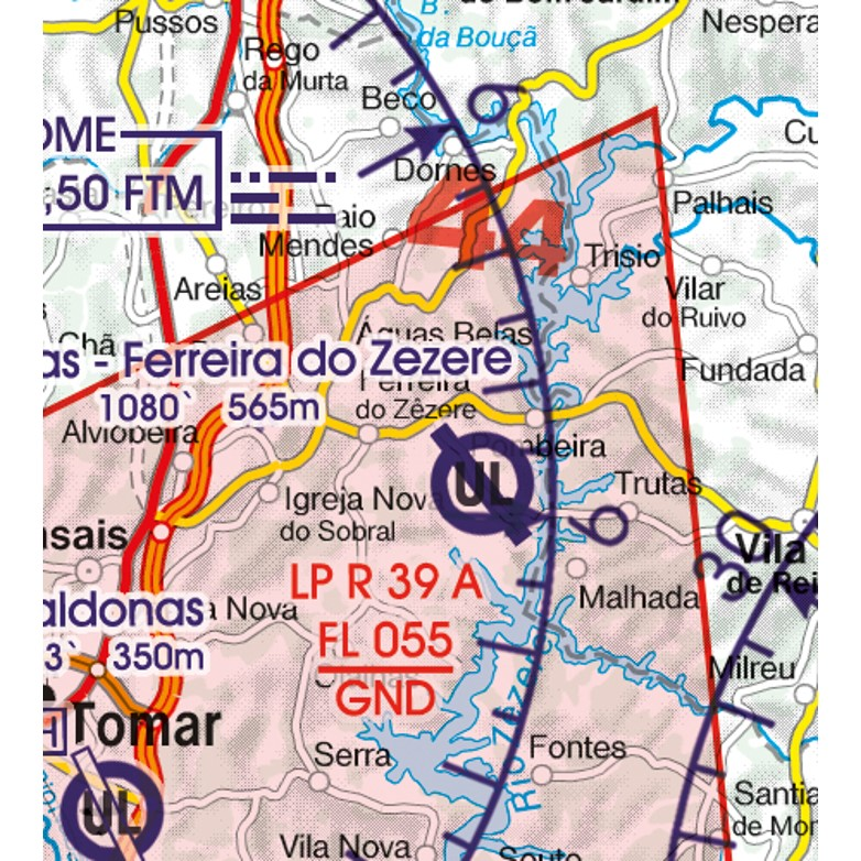 Portugal VFR Aeronautical Chart restricted area