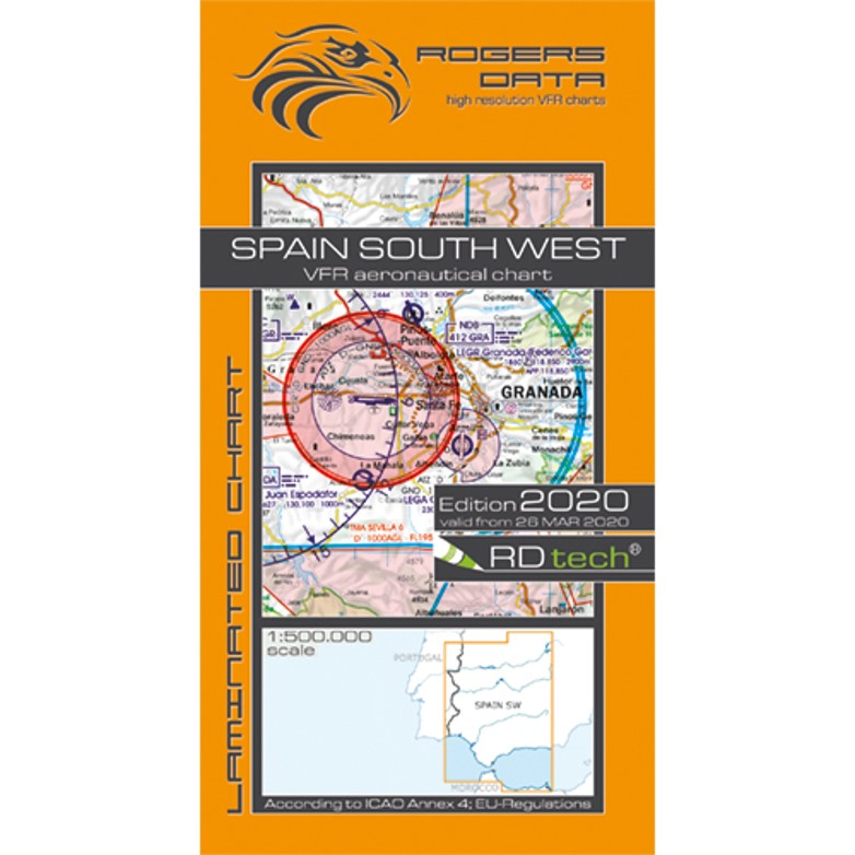 Spain South West 500k Aeronautical VFR Chart 2020 Rogers Data