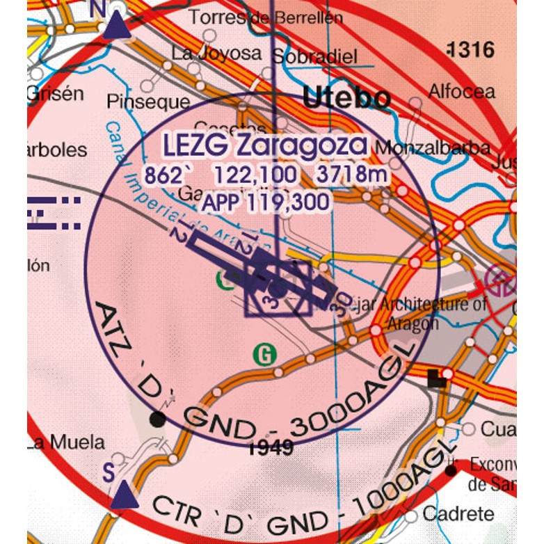 Spain VFR Aeronautical Chart ATZ aerodrome traffic zone
