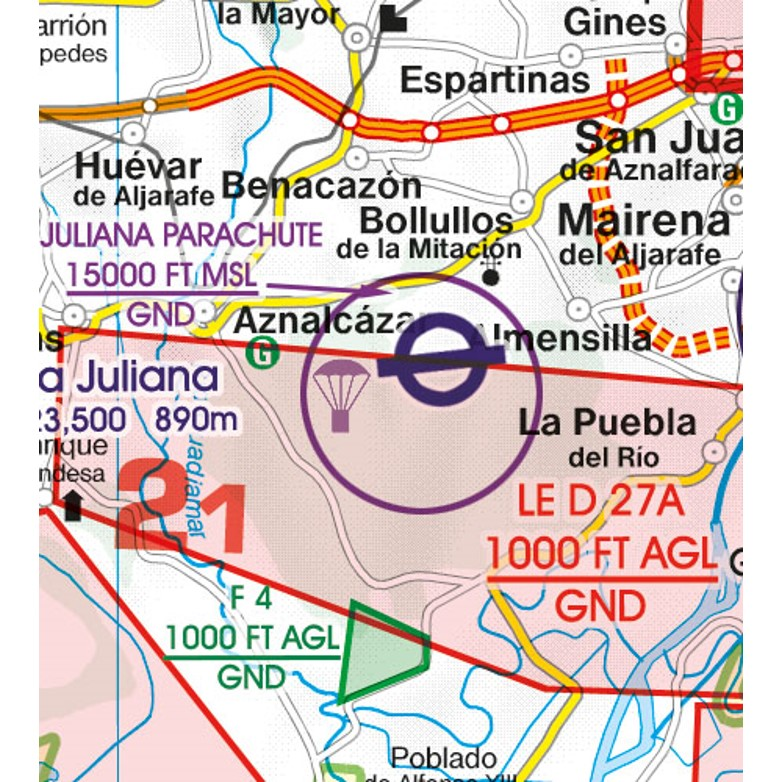 Spain VFR Aeronautical Chart aerial sporting recreational activities