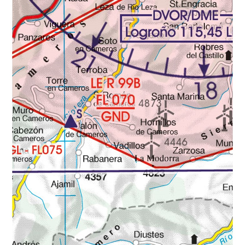 Spain VFR Aeronautical Chart  restricted prohibited danger area 3