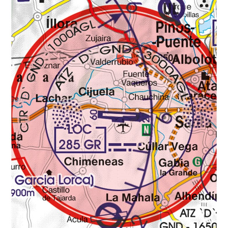 Spain VFR Aeronautical Chart main airport Granada