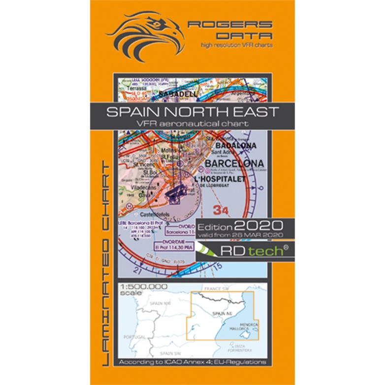 Spain North East 500k Aeronautical VFR Chart 2020 Rogers Data