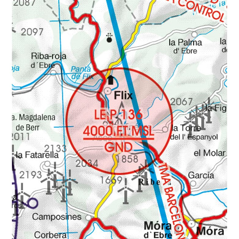 Spain VFR Aeronautical Chart  restricted prohibited danger area 2
