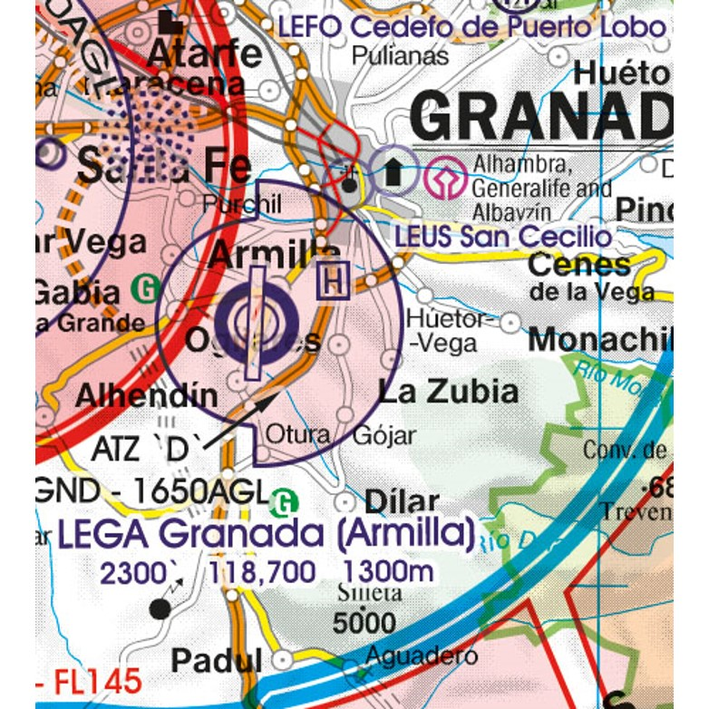 Spain VFR Aeronautical Chart military aerodrome
