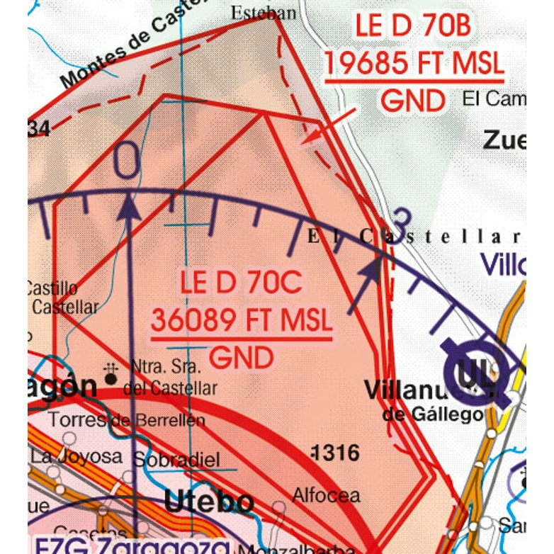 Spain VFR Aeronautical Chart restricted prohibited danger area