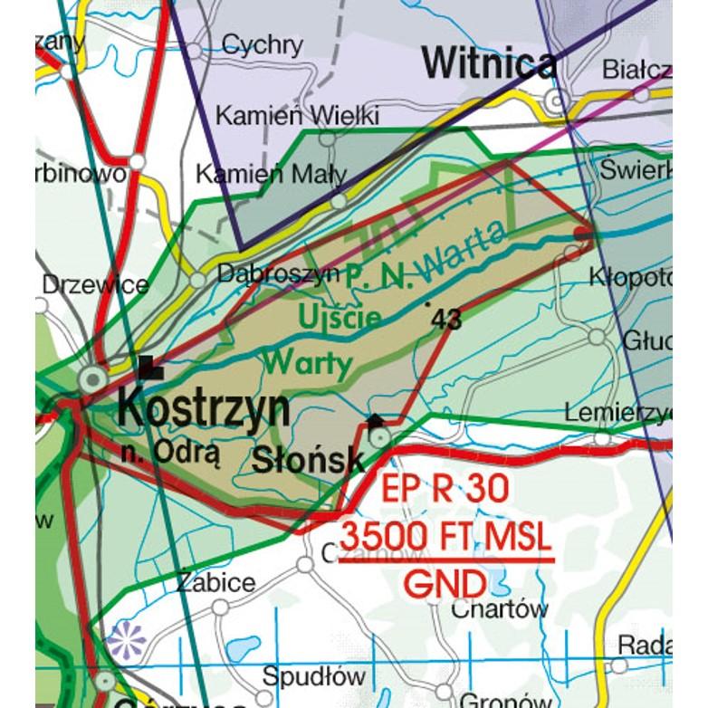 Polen VFR Luftfahrtkarte Gefahrengebiet Restricted Area