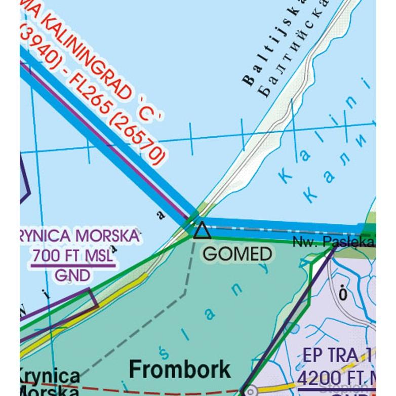 Polen VFR Luftfahrtkarte Grenzüberflugspunkte