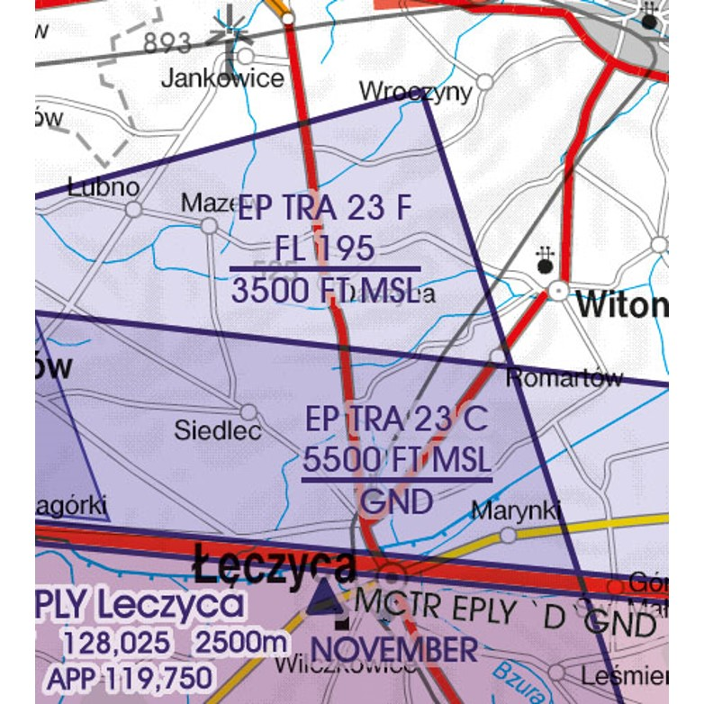 Polen VFR Luftfahrtkarte Luftraumreservierung