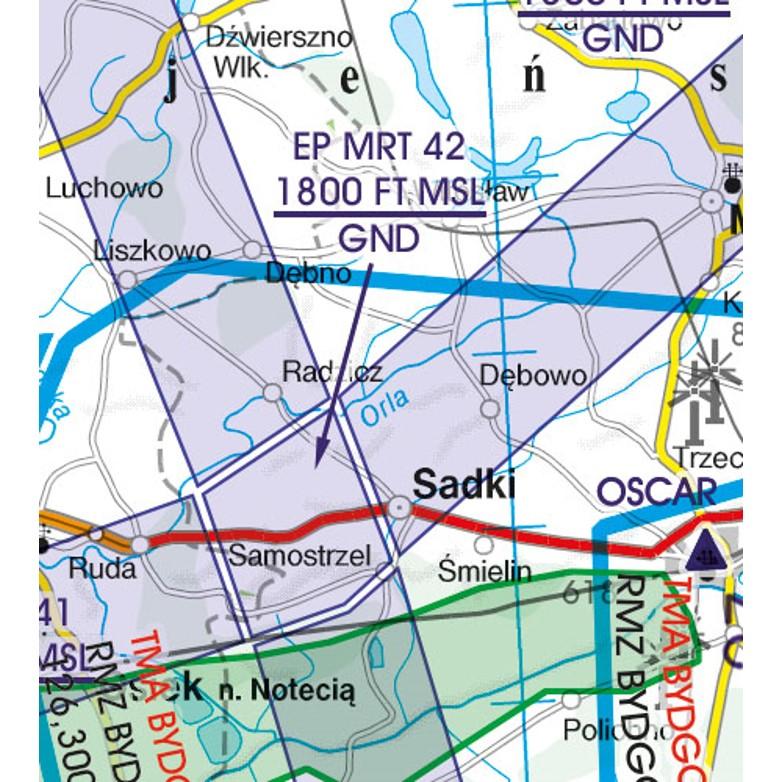 Polen VFR Luftfahrtkarte Militär Streckensysteme