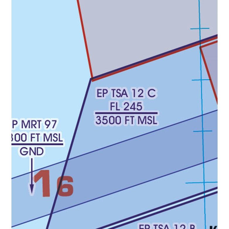 Polen VFR Luftfahrtkarte TSA