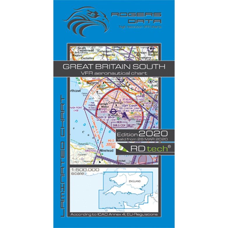 Great Britain South 500k Aeronautical VFR Chart 2020 Rogers Data